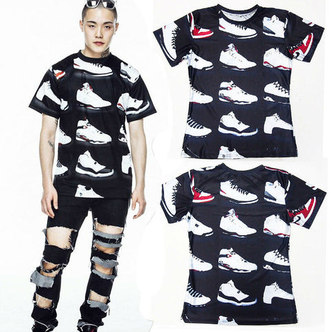 JORDAN 23 Classic Shoes 3D Printed Hip Hop Funny Men's T Shirt Summer Pure American Special Cut Tees