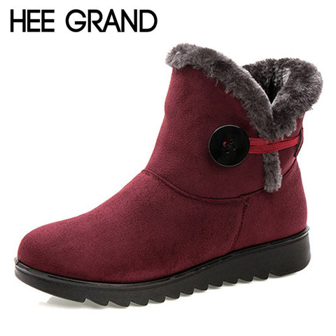 HEE GRAND Winter Women Boots Flock Warm Ankle Snow Boots 2017 Platform Mother Shoes