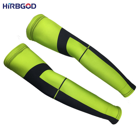 HIRBGOD 2017 Green Arm Warmer Sleeve Ciclismo  Uv Sports Safe,XT103