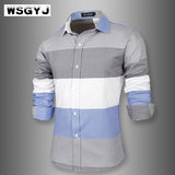 WSGYJ Brand Fashion Male Shirt Long-Sleeves Dress Shirts Shirt 2XL