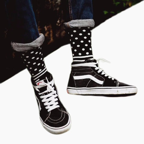 CHAOZHU New Arrival Cool Skateboard Hip Hop Dots Stripes Brand Socks