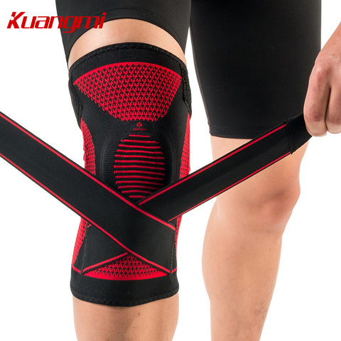 Kuangmi Silicone Knee Sleeve Elastic Brace Support Adjustable knee Protector
