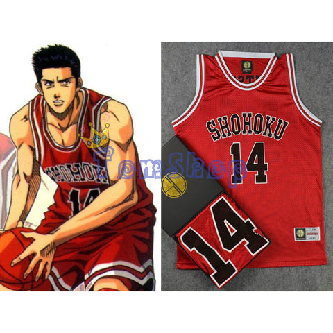 SLAM DUNK Cosplay Costume Shohoku #14 Mitsui Red Basketball Jersey  Uniform Free Shipping