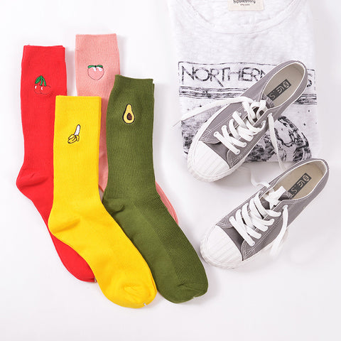 Cute Women Men Candy Color  Fruit Pattern Sock