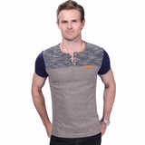 Fashion Men's T Shirt Casual Patchwork Short Sleeve Clothing