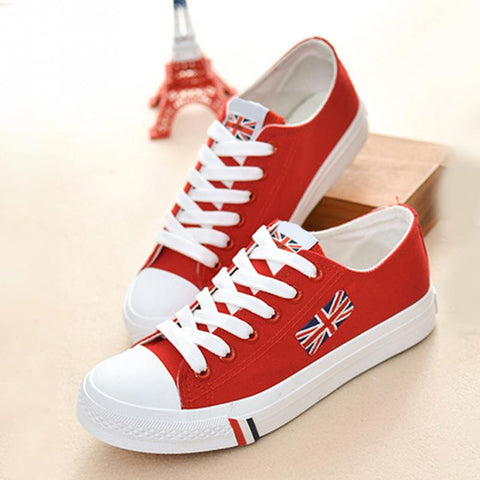 2017 Flags Design Canvas  Women Sneakers Shoes Street Girls