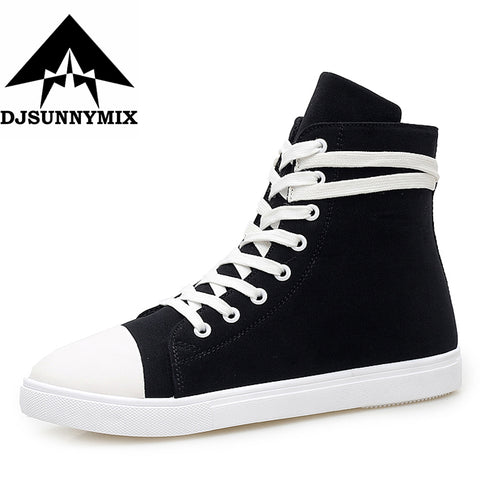 DJSUNNYMIX New 2018 High Quality Canvas Fashion High top Men's Casual sneakers