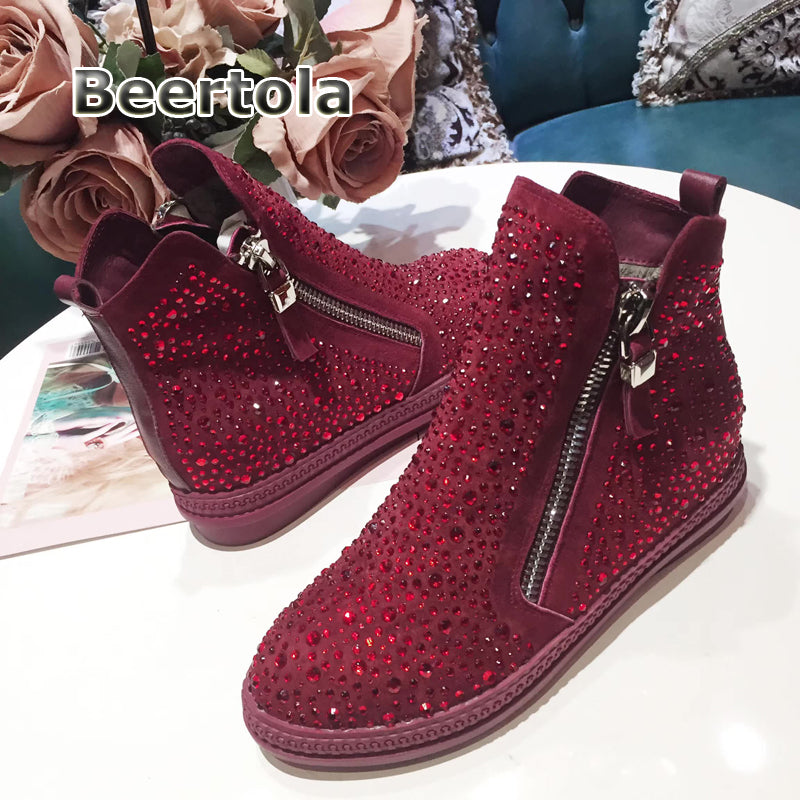 Beertola Fashion Rhinestone  Wine Red Crystal  Women Casual Winter Sneakers