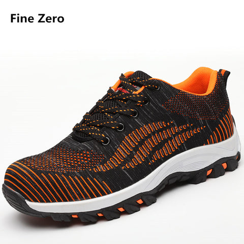 Fine Zero Men's big size 45 46 air mesh Steel Toe Cap Sneakers unisex Safety Shoes