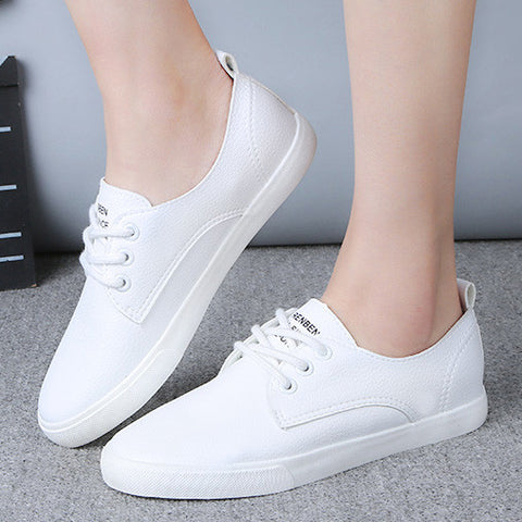 Leather Women Shoe Casual Leather Shoes For Women Flat Shoes Ladies Lacing Loafers Zapatos Mujer