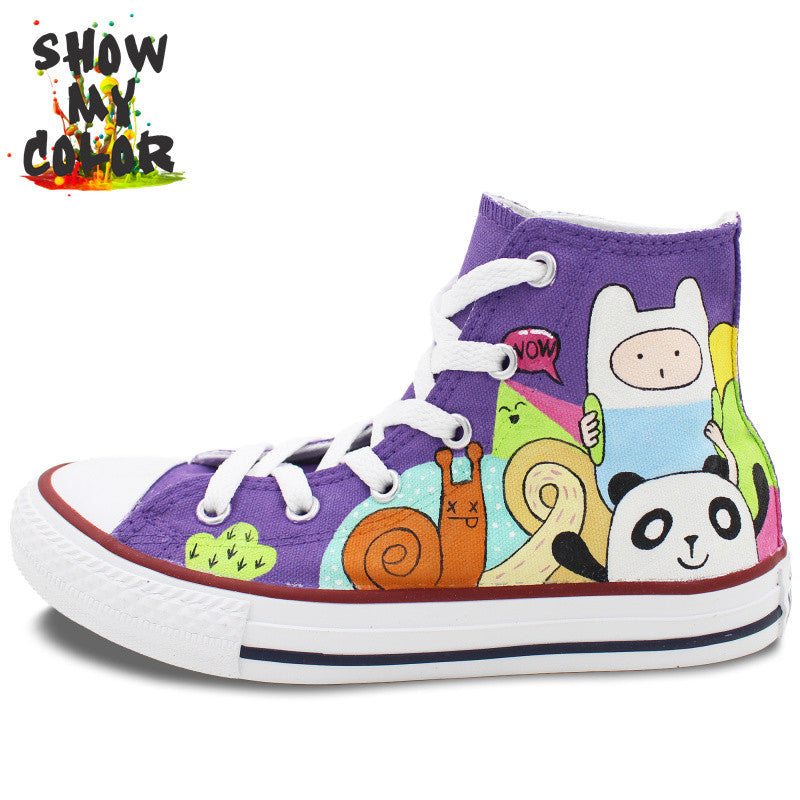 Purple Converse All Star Shoes High Top Hand Painted Adventure Time Canvas