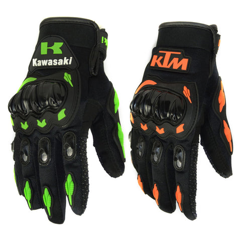 New Full Finger Motorcycle Gloves Motocross Green Orange Moto Protective Gears Glove For Men