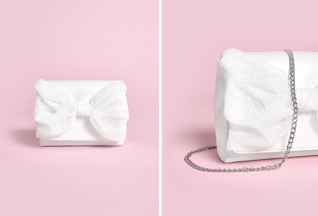 Josie Bag Ivory leather with tulle bow by charlotte mills