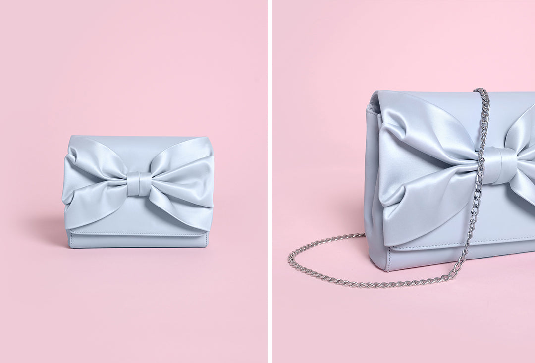 Jude Blue Leather and satin bow wedding bag charlotte mills