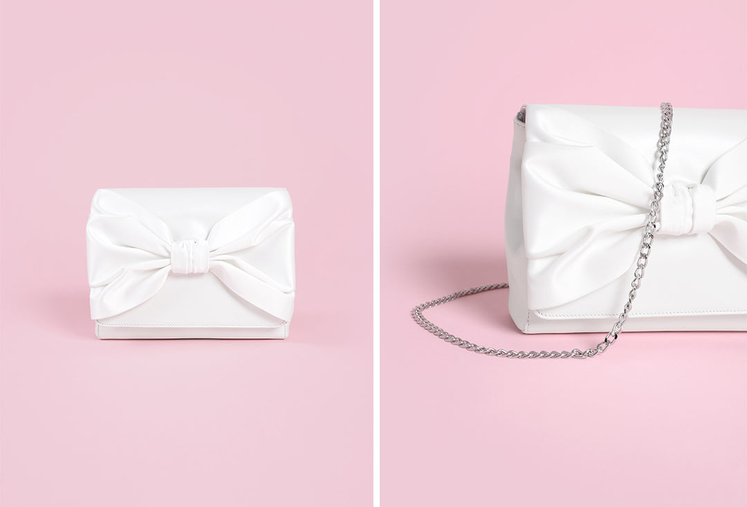 Jude Ivory Leather and Satin Bow Wedding Bag by Charlotte Mills