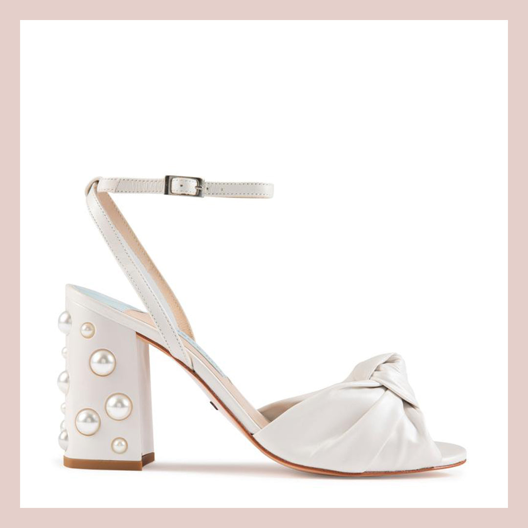 Knotted Leather Peep Toe Shoe in Ivory with Pearl Block Heel - Charlotte Mills