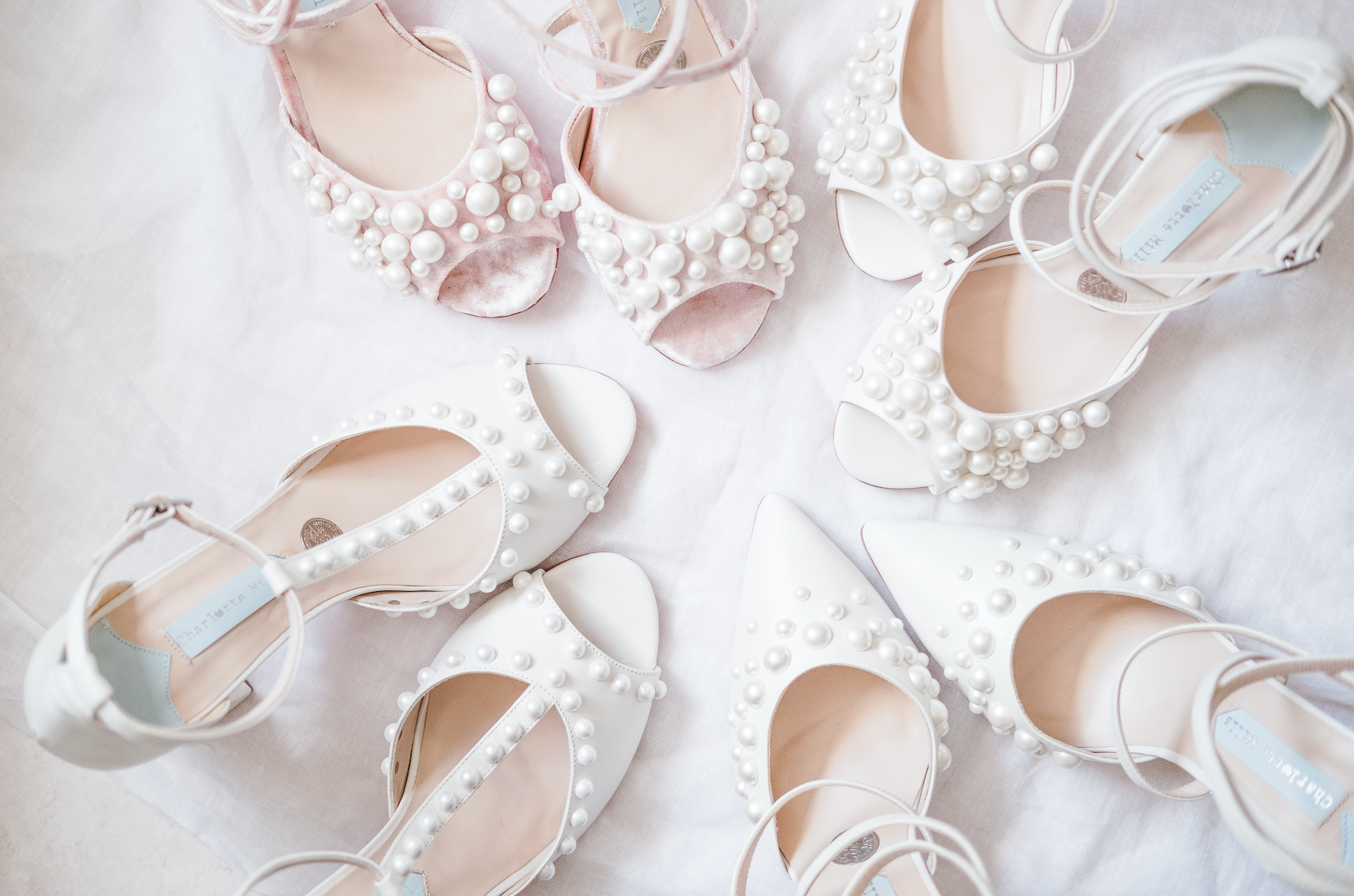 Pearl Stud Wedding Shoes by Charlotte Mills