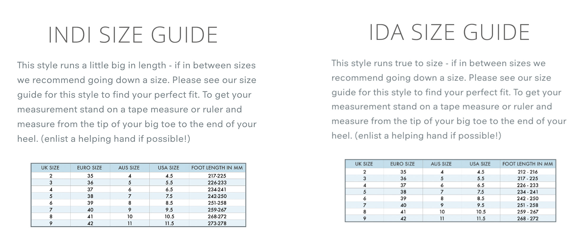 charlotte mills indi and ida size guide
