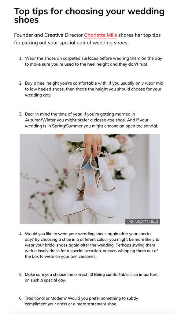 Charlotte mills top tips for choosing your wedding shoes