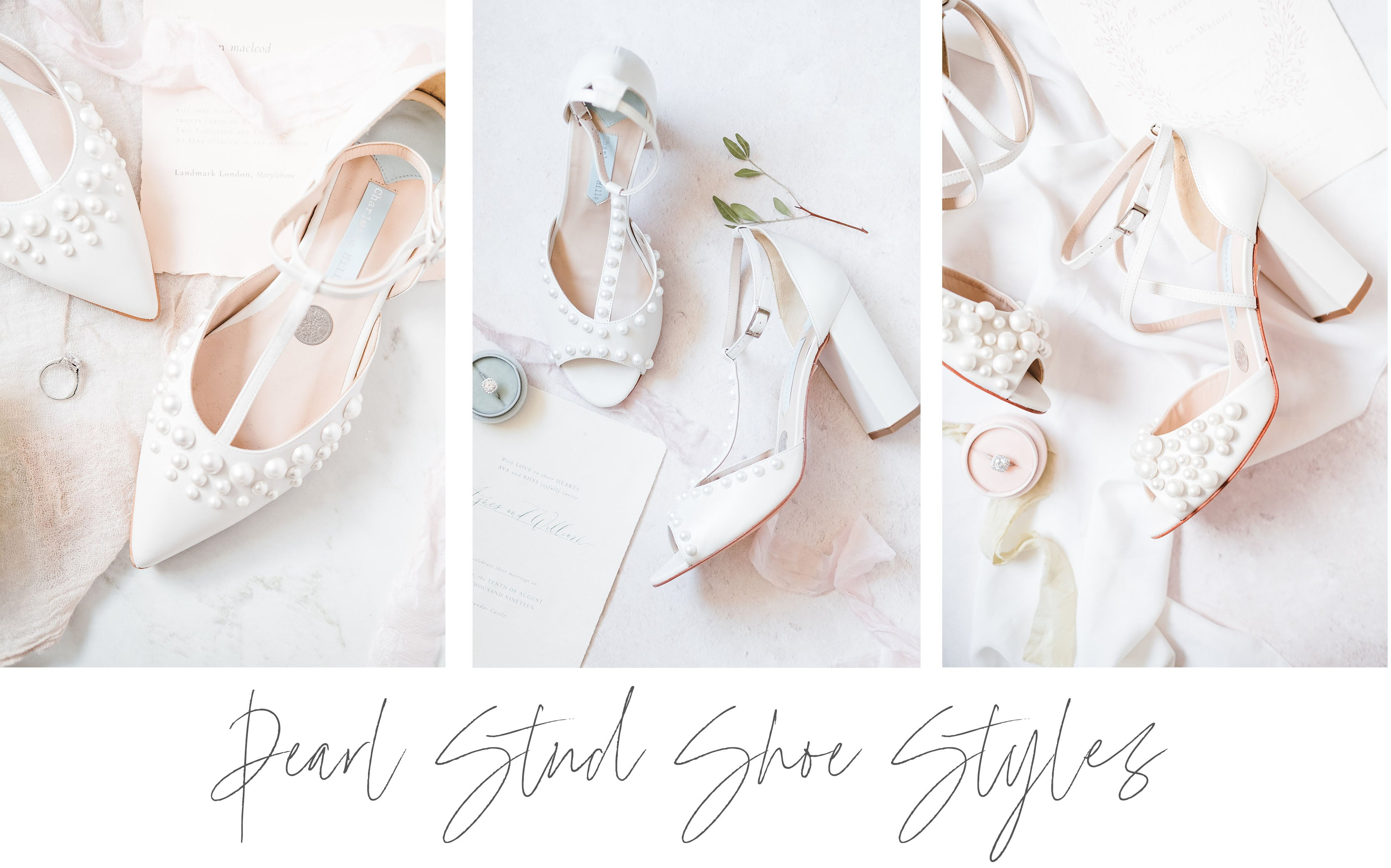 Pearl Stud Wedding Shoes in Ivory with Charlotte Mills