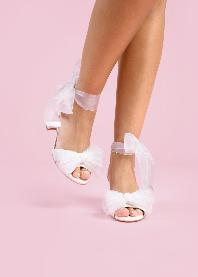Ivory Bow Mid Heel Wedding Shoe with Organza Ribbon Strap