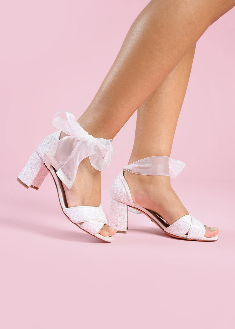 Ivory Pearl Mid Heel Wedding Shoe with Organza Ribbon Strap