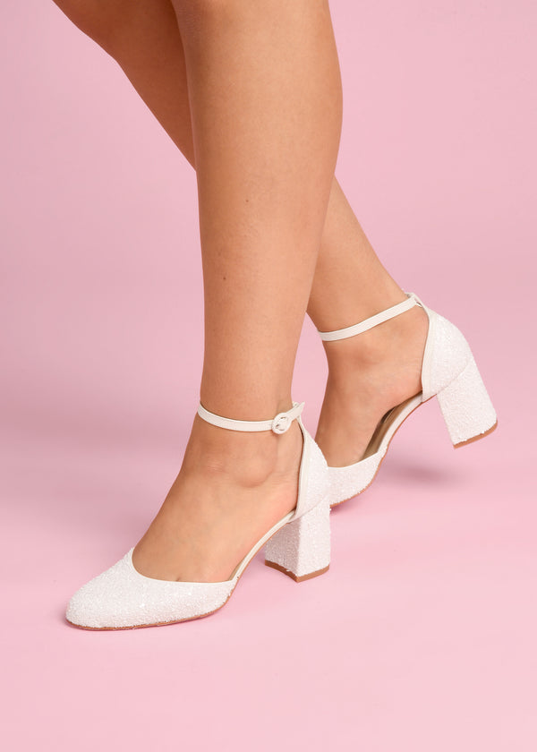 jazzy pearl block heel wedding shoe charlottemills
