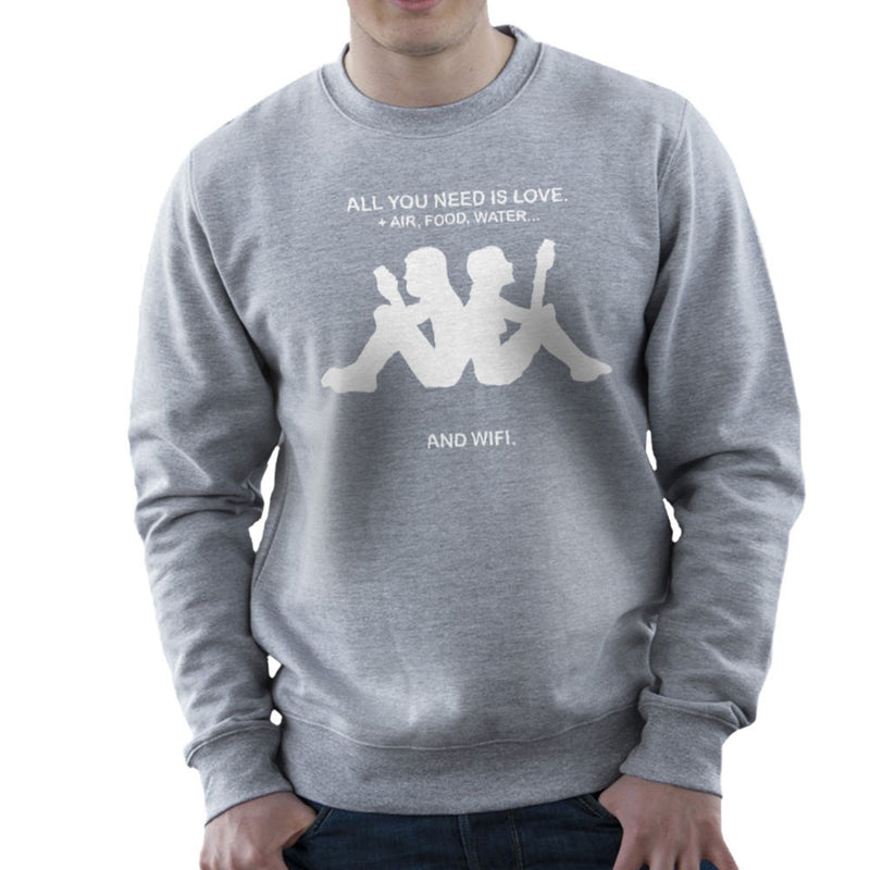 Love & Wifi Kappa Logo Quote Men's Sweatshirt by Toonpunk - Cloud City 7