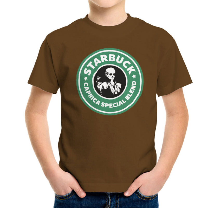 Battlestar Galactica Starbucks Starbuck Caprica Special Blend Coffee Kid's T-Shirt by Pheasant Omelette - Cloud City 7