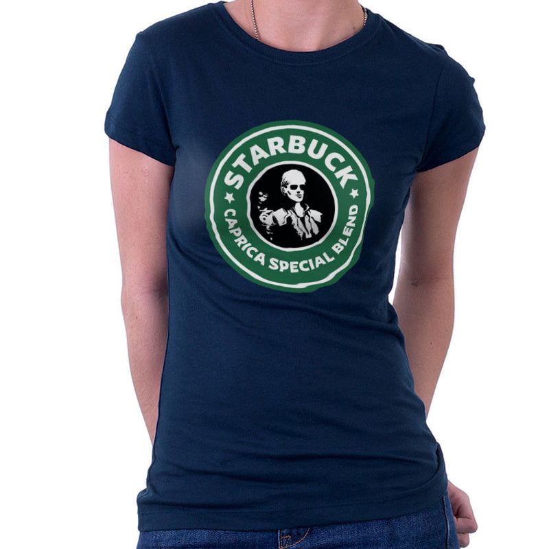 Battlestar Galactica Starbucks Starbuck Caprica Special Blend Coffee Women's T-Shirt by Pheasant Omelette - Cloud City 7