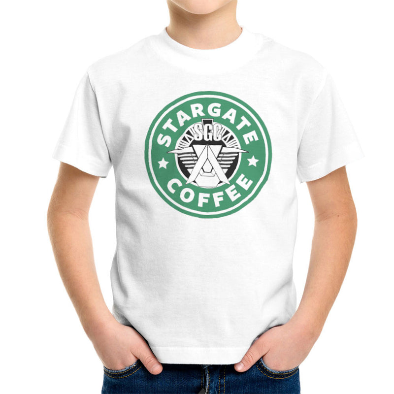 Stargate SGC Starbucks Coffee Kid's T-Shirt by Pheasant Omelette - Cloud City 7