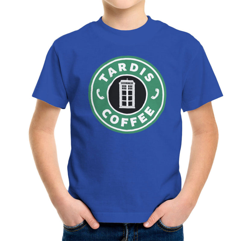 Dr Who Tardis Starbucks Coffee Kid's T-Shirt by Pheasant Omelette - Cloud City 7