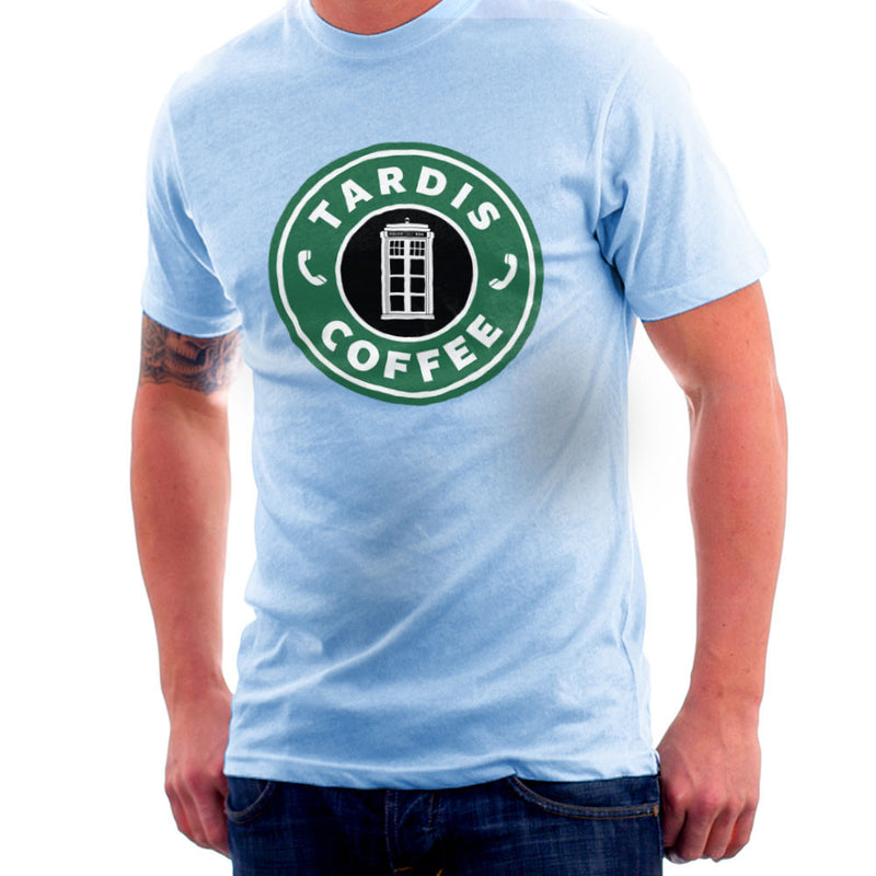 Dr Who Tardis Starbucks Coffee Men's T-Shirt by Pheasant Omelette - Cloud City 7