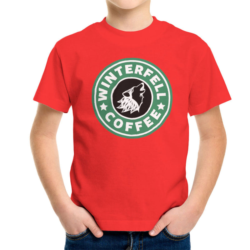 Game Of Thrones Stark Winterfell Starbucks Coffee Kid's T-Shirt by Pheasant Omelette - Cloud City 7