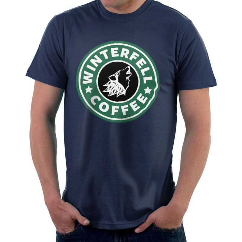 Game Of Thrones Stark Winterfell Starbucks Coffee Men's T-Shirt by Pheasant Omelette - Cloud City 7