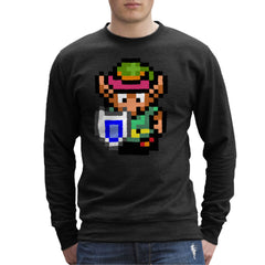 Legend Of Zelda Link Pixel Character Men's Sweatshirt Men's Sweatshirt Cloud City 7 - 2