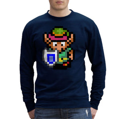 Legend Of Zelda Link Pixel Character Men's Sweatshirt Men's Sweatshirt Cloud City 7 - 7