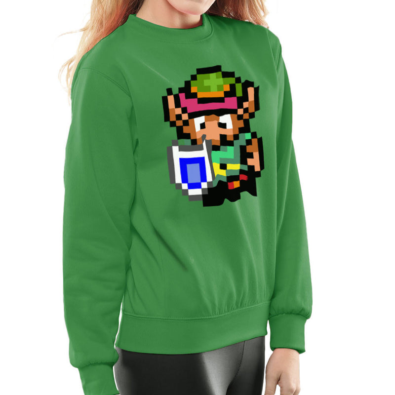 Legend Of Zelda Link Pixel Character Women's Sweatshirt by DeMilburn - Cloud City 7