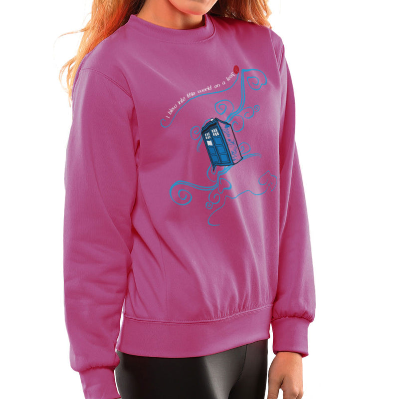 Dr Who Tardis I Blew Into This World On A Leaf Women's Sweatshirt by Sillicus - Cloud City 7
