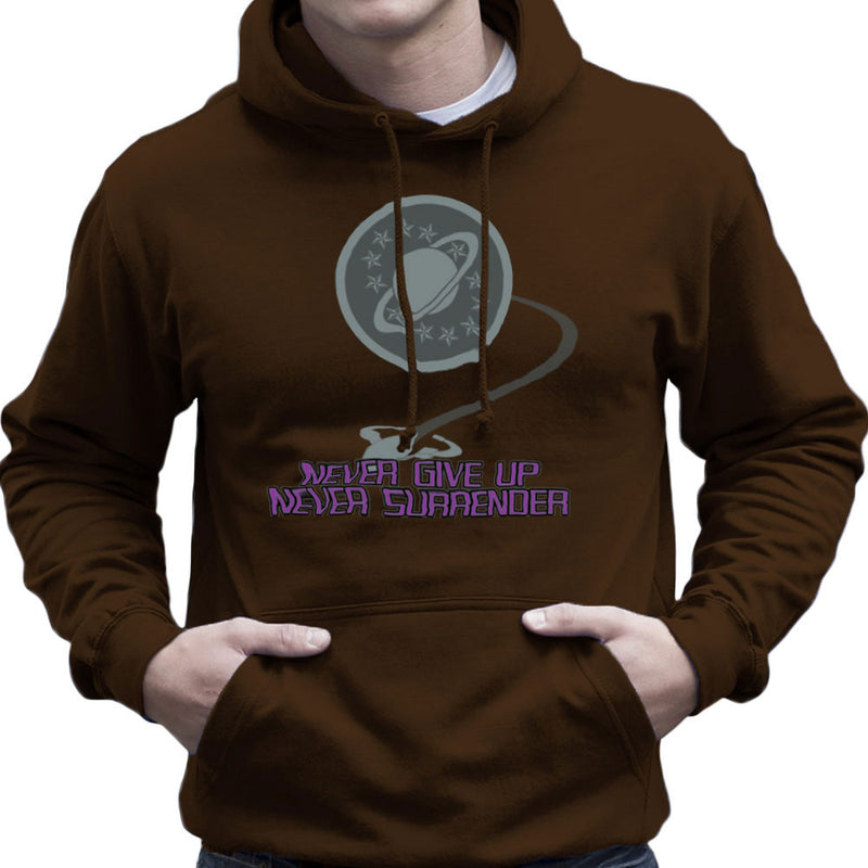 Galaxy Quest Never Give Up Never Surrender Men's Hooded Sweatshirt Men's Hooded Sweatshirt Cloud City 7 - 12