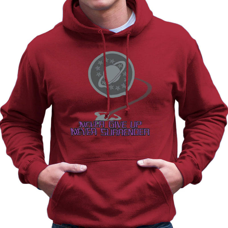 Galaxy Quest Never Give Up Never Surrender Men's Hooded Sweatshirt Men's Hooded Sweatshirt Cloud City 7 - 15
