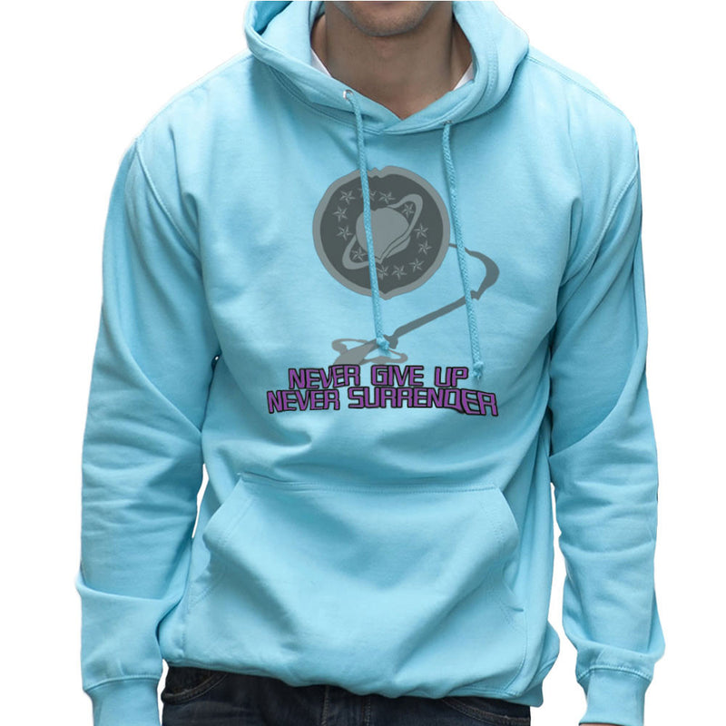 Galaxy Quest Never Give Up Never Surrender Men's Hooded Sweatshirt Men's Hooded Sweatshirt Cloud City 7 - 11