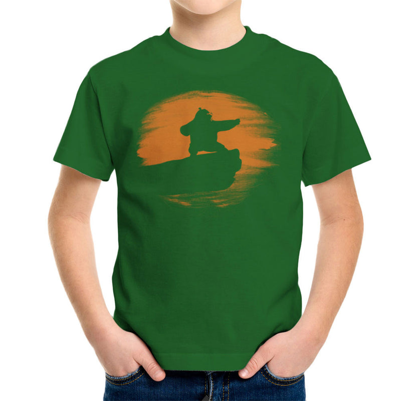 Kung Fu Panda Silhouette Sunset Kid's T-Shirt by Sillicus - Cloud City 7