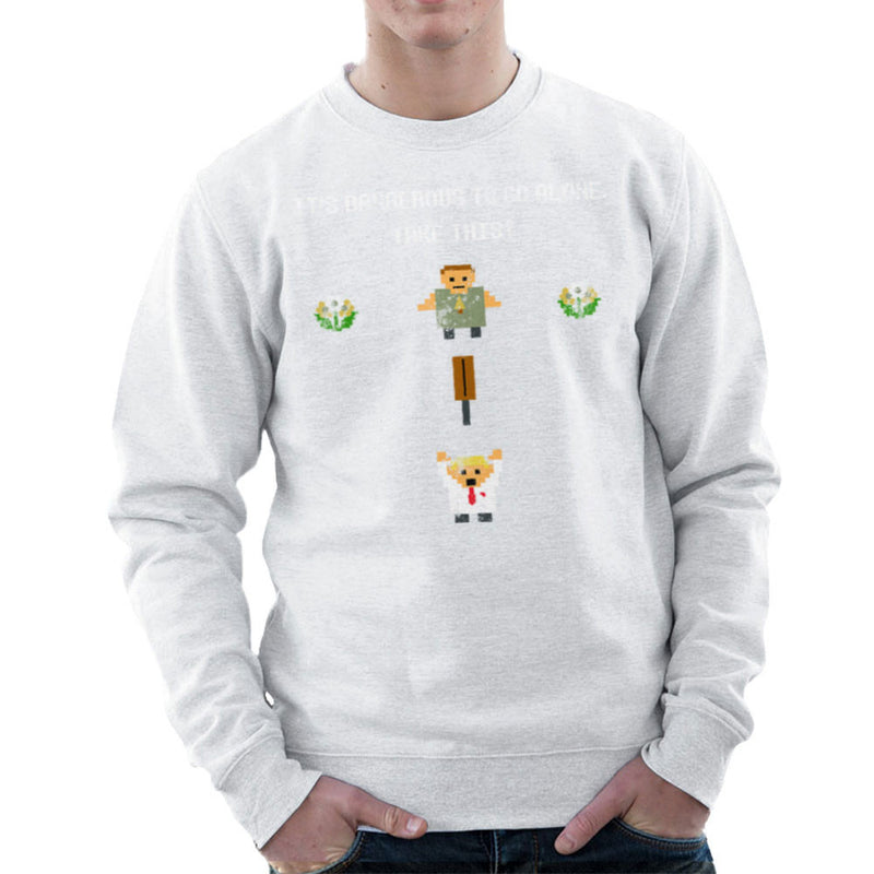 Shaun Of The Dead Pixel 8 Bit It's Dangerous To Go Alone Men's Sweatshirt by Sillicus - Cloud City 7