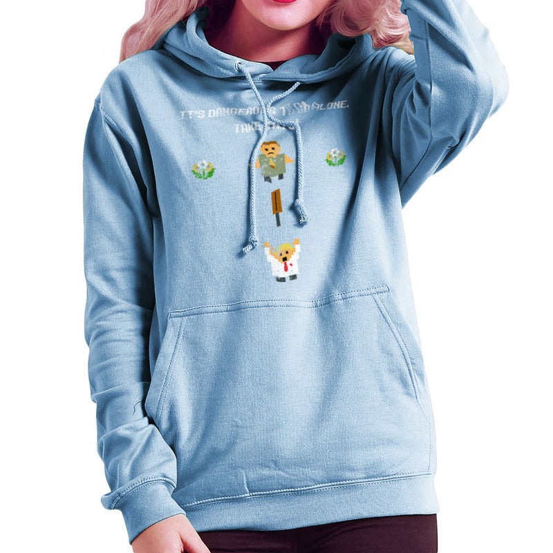 Shaun Of The Dead Pixel 8 Bit It's Dangerous To Go Alone Women's Hooded Sweatshirt by Sillicus - Cloud City 7