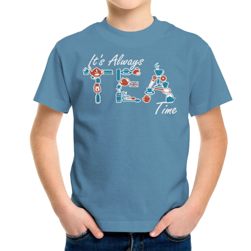 It's Always Tea Time Kid's T-Shirt Kid's Boy's T-Shirt Cloud City 7 - 9