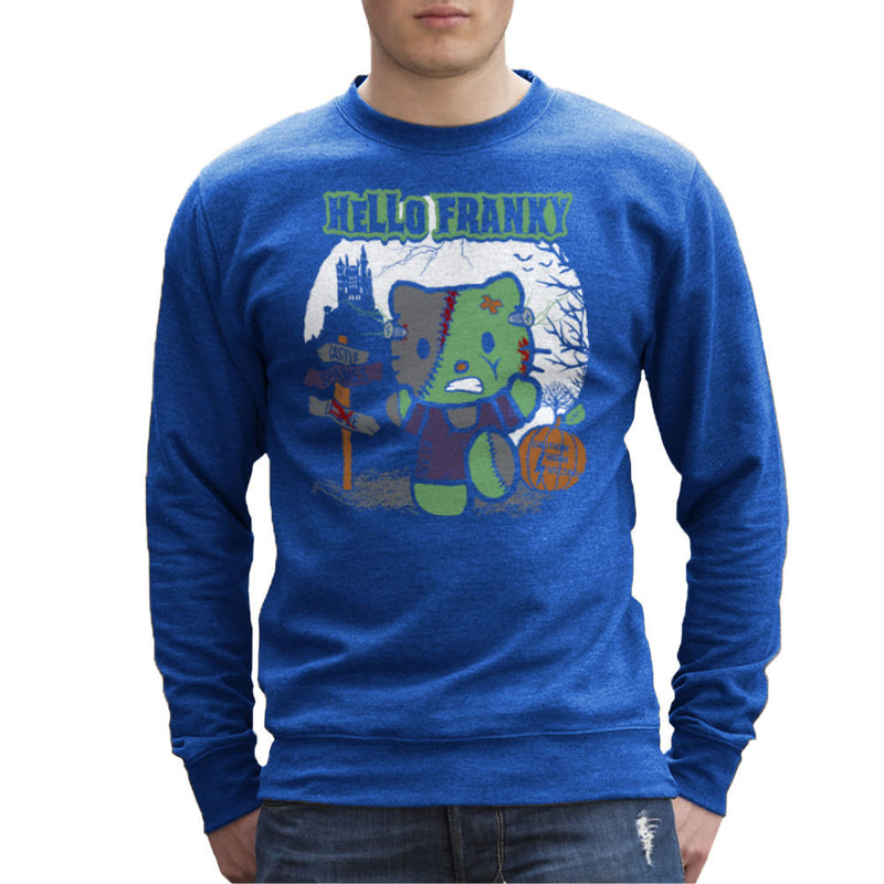 Hello Franky Kitty Frankenstein Men's Sweatshirt by Kempo24 - Cloud City 7