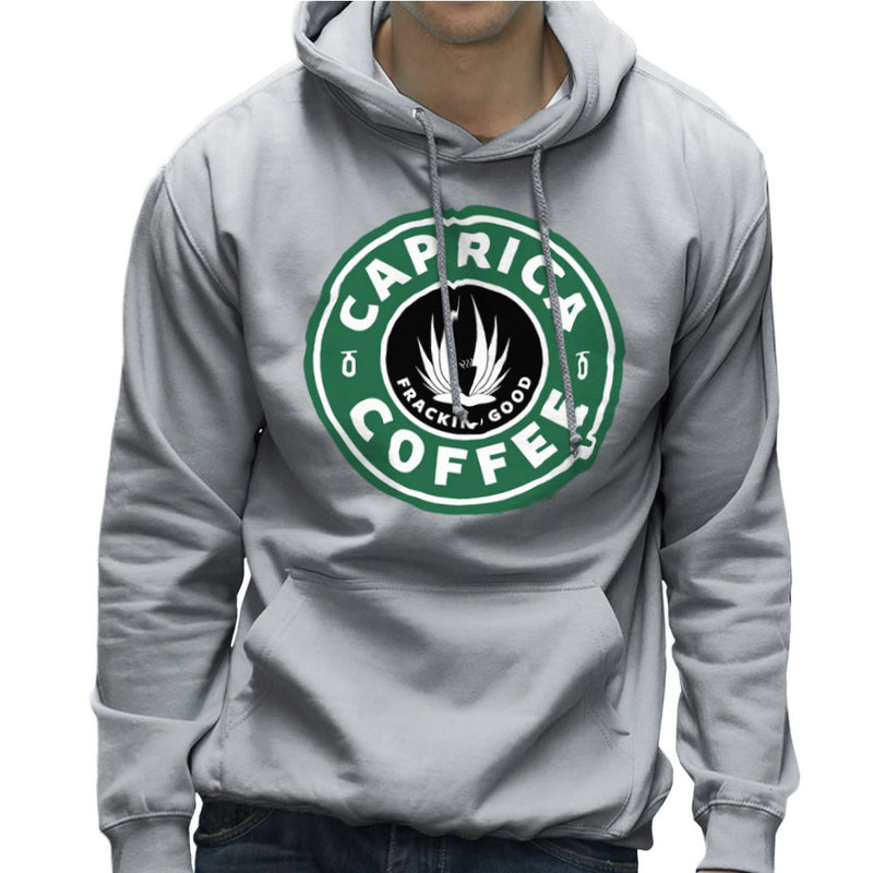 Caprica Coffee Frackin Good Battlestar Galactica Starbucks Men's Hooded Sweatshirt by Pheasant Omelette - Cloud City 7