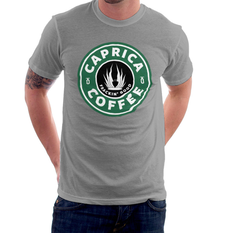 Caprica Coffee Frackin Good Battlestar Galactica Starbucks Men's T-Shirt by Pheasant Omelette - Cloud City 7