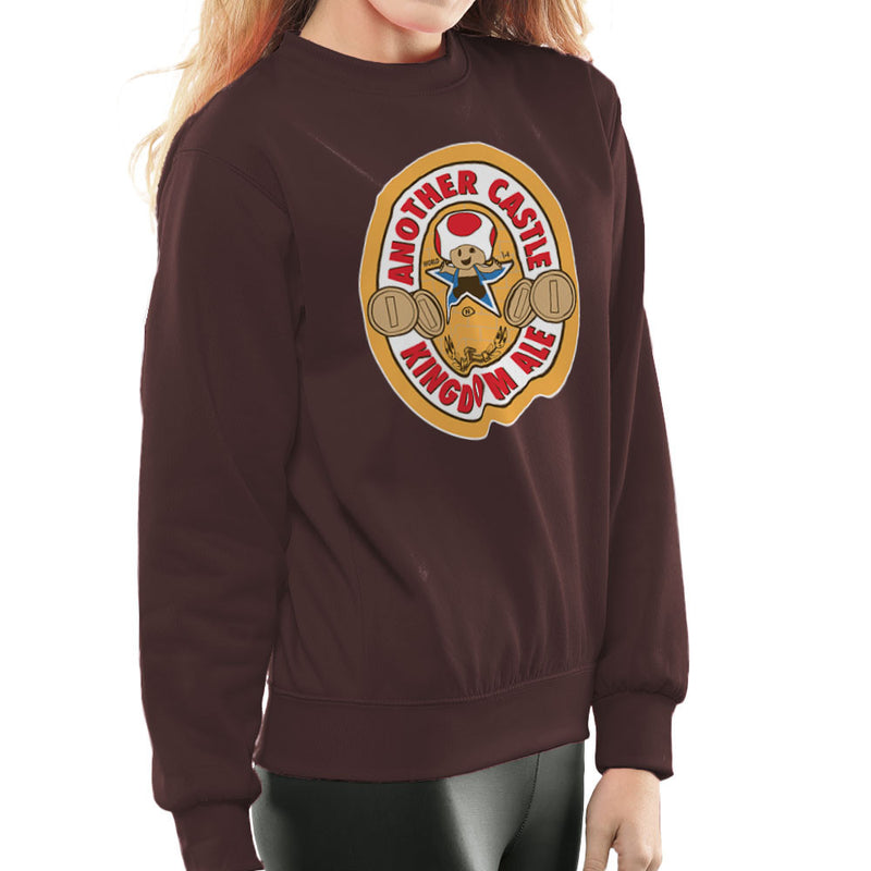 Another Castle Kingdom Ale Newcastle Brown Mario Toad Women's Sweatshirt by Bryan SilverBaX - Cloud City 7
